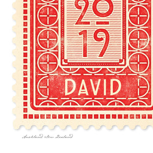 Personalised vintage stamp detail