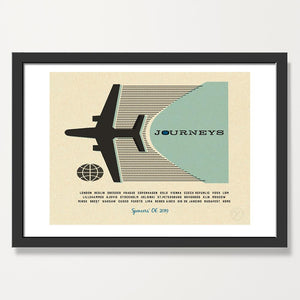 Personalised Journeys art print - Lt blue. black frame