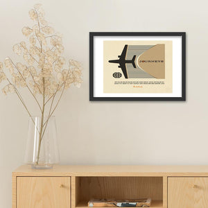 Personalised journeys print fawn. Black frame