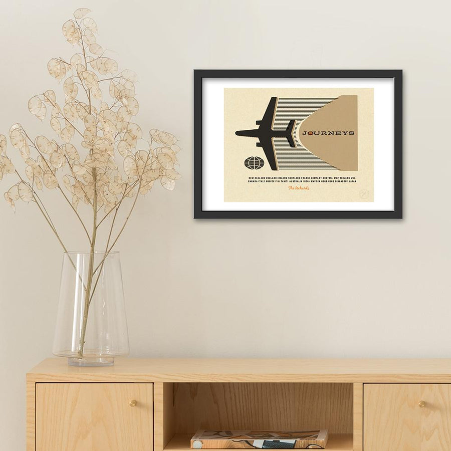 Personalised travel art print - sage