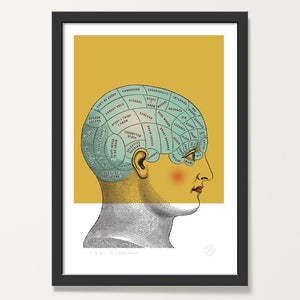 Phrenology art print black frame