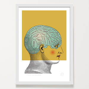 Phrenology art print white frame