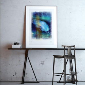 Plume art print framed with mount
