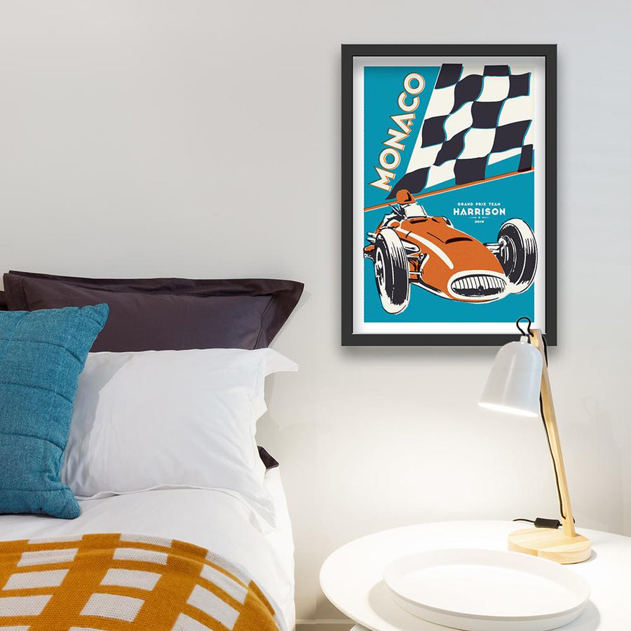 Personalised retro racing car print