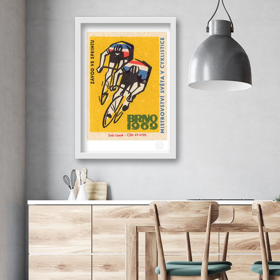 Retro Cycling matchbox label print