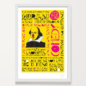 Shakespeare comedy typographic print