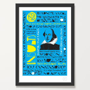 Shakespeare insults art print black frame