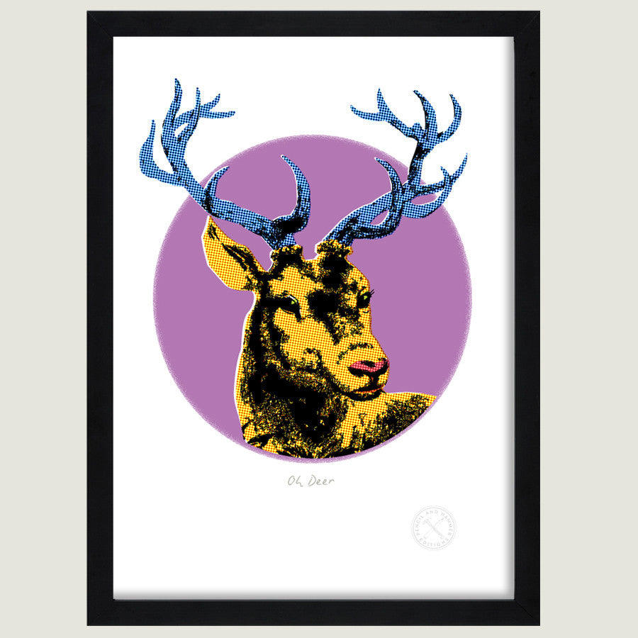Oh Deer retro print. black frame pencil and hammer