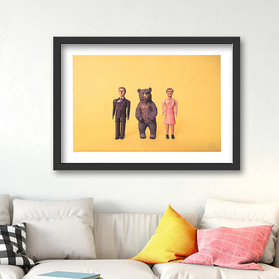 Bear and Friends art print. Black frame