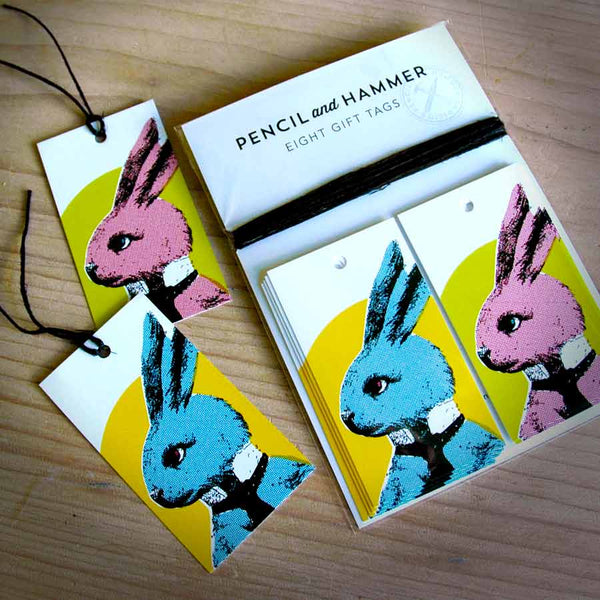 bunny gift tags pencil and hammer