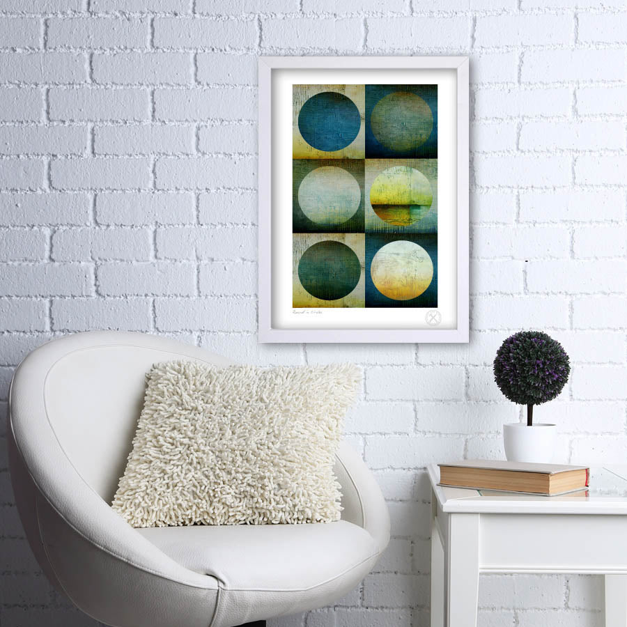 A2 Round in circles art print on wall