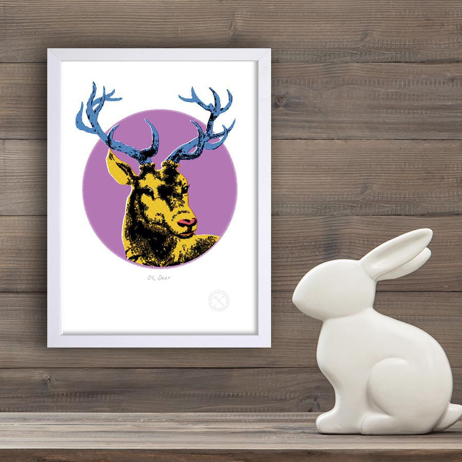 Oh Deer retro print. pencil and hammer