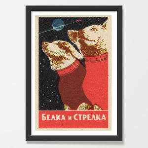 Soviet space dogs art print