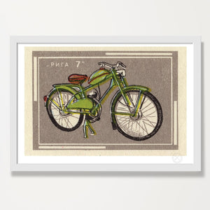 Mid century green bike art print