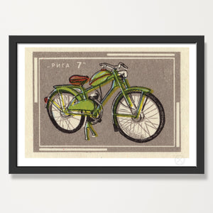 Mid century green bike print
