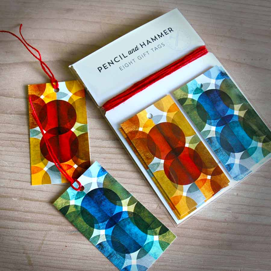 Scandinavian gift tags pencil and hammer