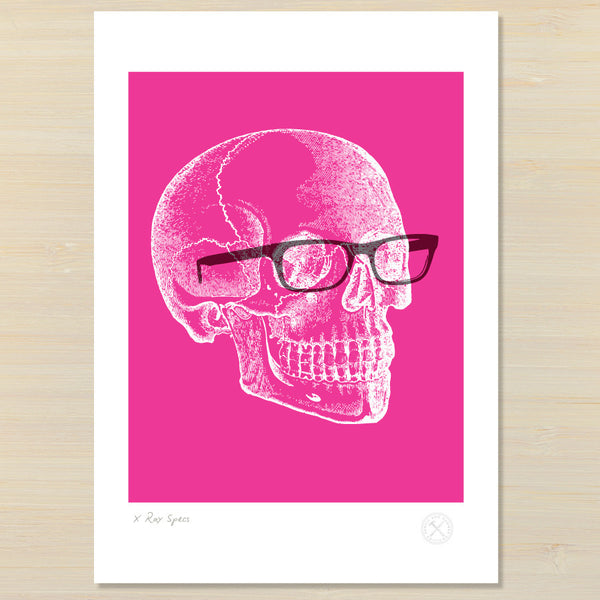 Pink skull with glasses pencil and hammer