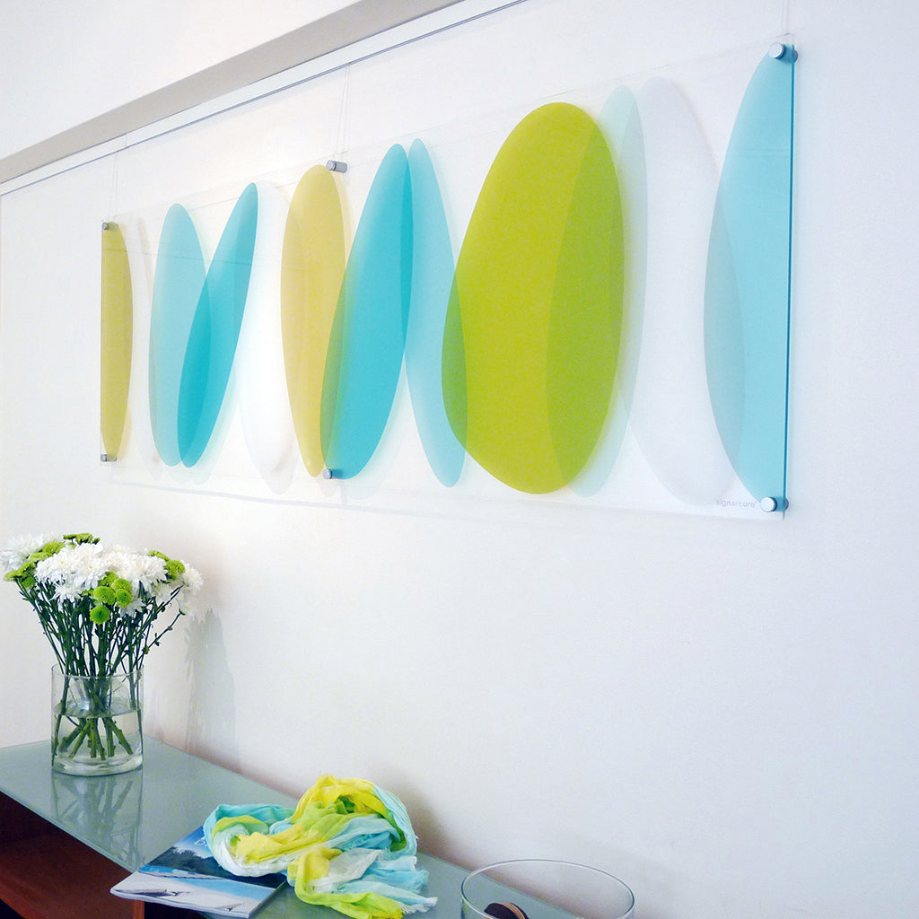 signarture lhotse artwork in modern perspex complementing modern apartment hallway