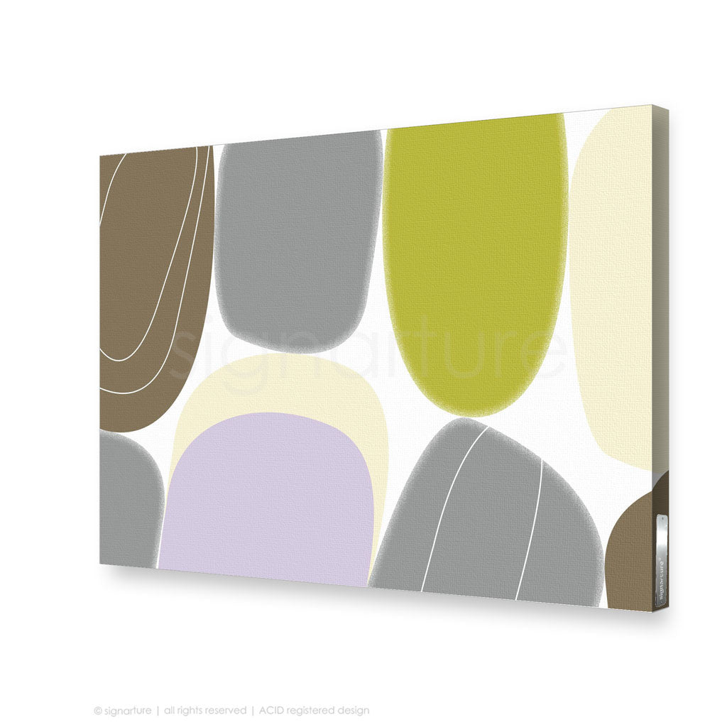 stretched canvas wall abstract art balanced pebbles green print ...