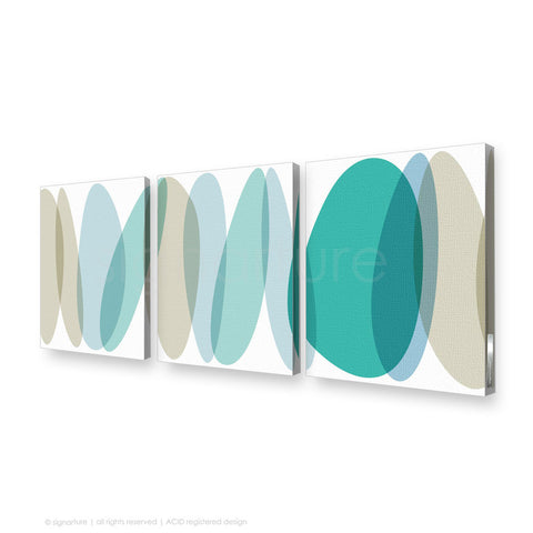 abstract canvas art lhotse blue triptych