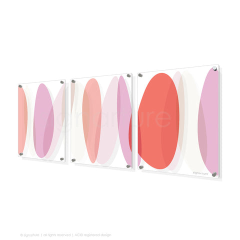 abstract perspex art lhotse coral triptych