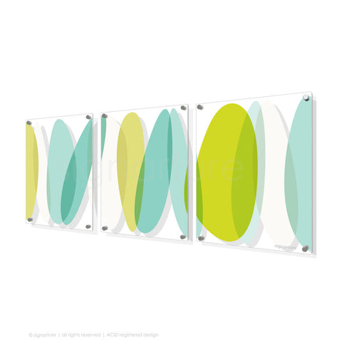 abstract perspex art lhotse green triptych