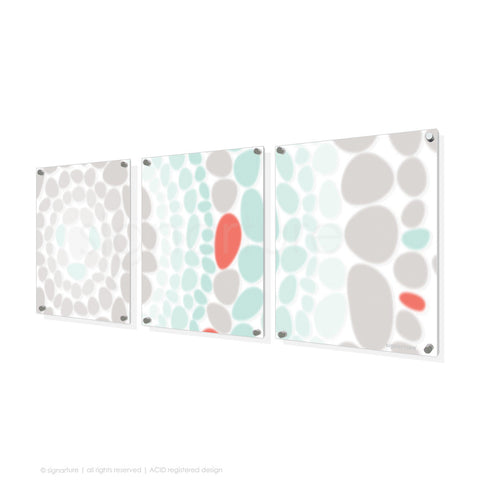abstract perspex art lumbini coral triptych