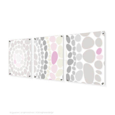 abstract perspex art lumbini pink triptych