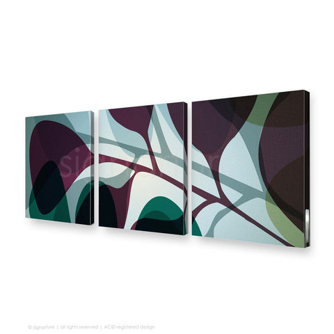 contemporary canvas art kuranda magenta triptych