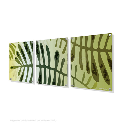 contemporary perspex art cottesloe green triptych