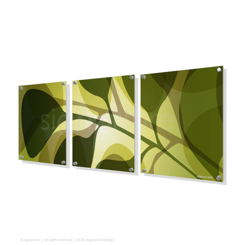 contemporary perspex art kuranda green triptych