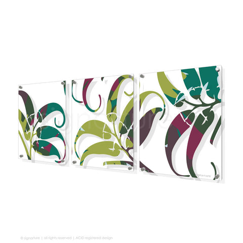 contemporary perspex art lizard island green triptych