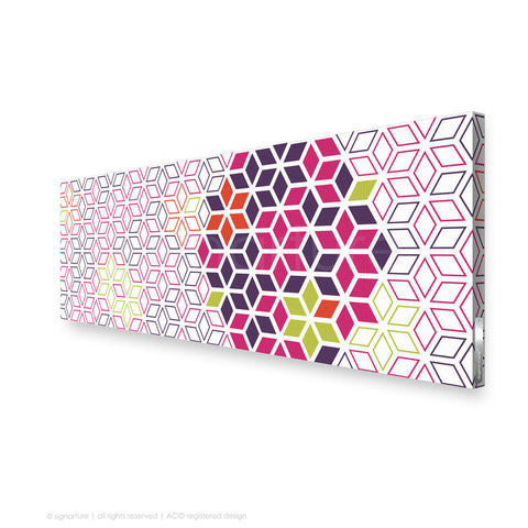 geometric canvas art tribeca magenta panoramic