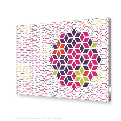 geometric canvas art tribeca magenta rectangular
