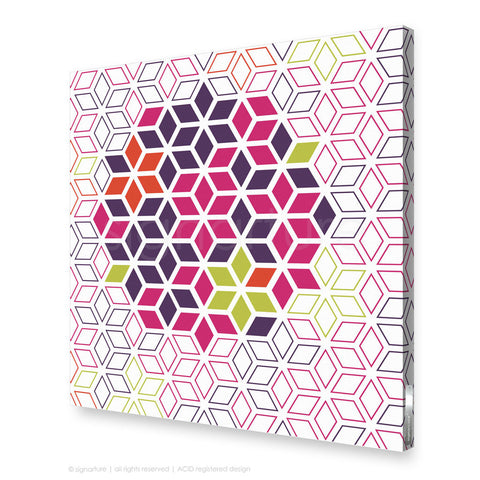 geometric canvas art tribeca magenta square