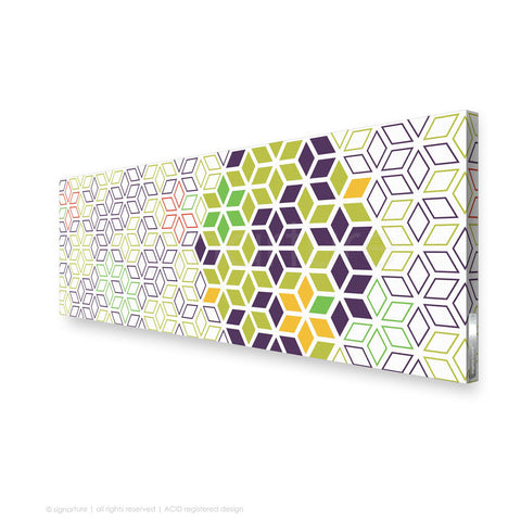 geometric canvas art tribeca purple panoramic