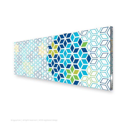 geometric canvas art tribeca blue panoramic