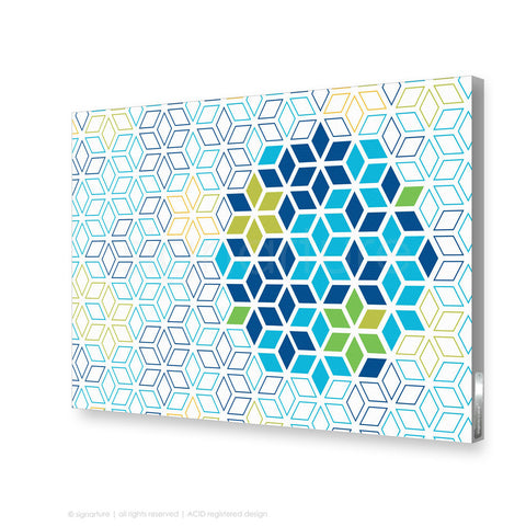 geometric canvas art tribeca blue rectangular