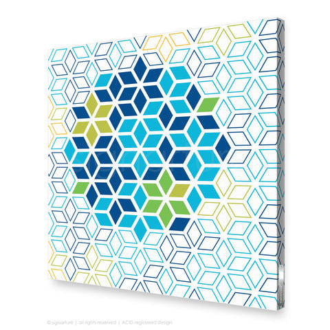 geometric canvas art tribeca blue square