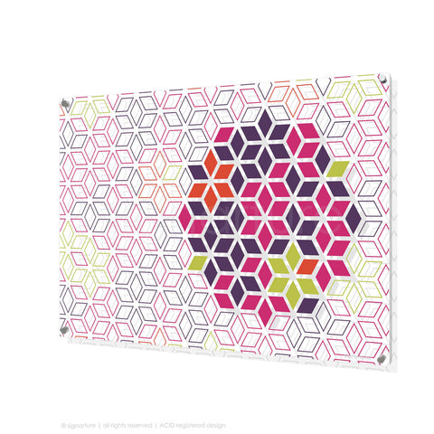 geometric perspex art tribeca magenta rectangular