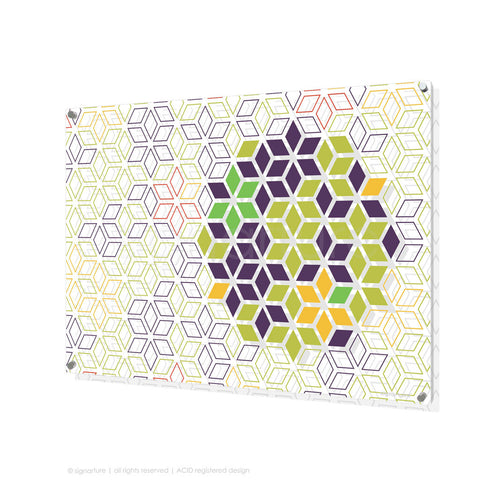 geometric perspex art tribeca purple rectangular