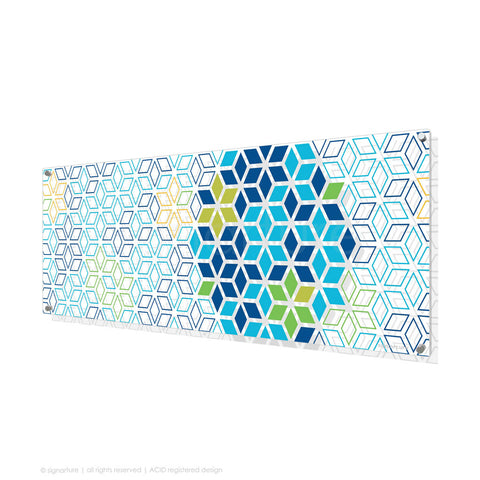 geometric perspex art tribeca blue panoramic