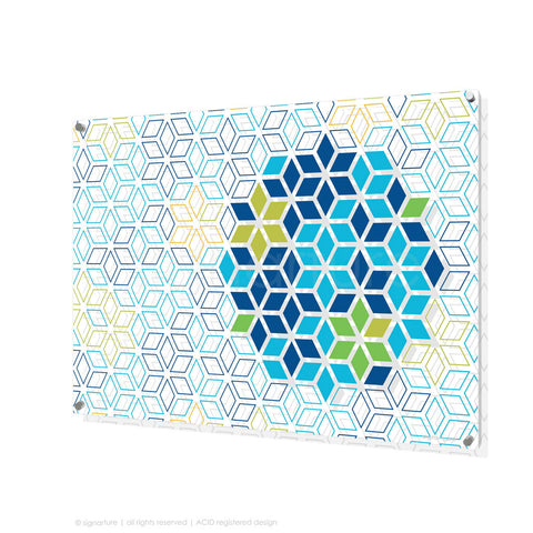 geometric perspex art tribeca blue rectangular