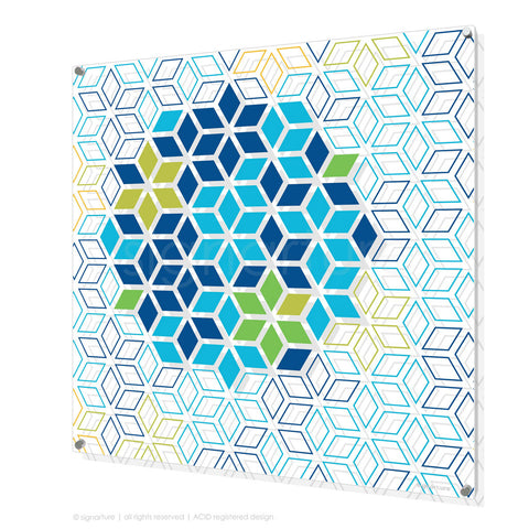 geometric perspex art tribeca blue square
