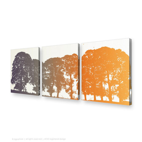 tree canvas art aberfeldy orange triptych
