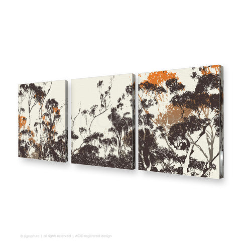 tree canvas art braidwood orange triptych