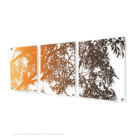 tree perspex art blackheath orange triptych