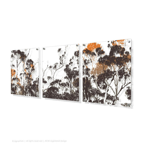 tree perspex art braidwood orange triptych