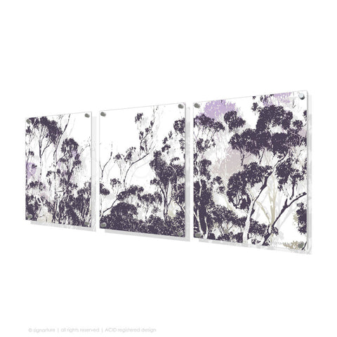 tree perspex art braidwood purple triptych