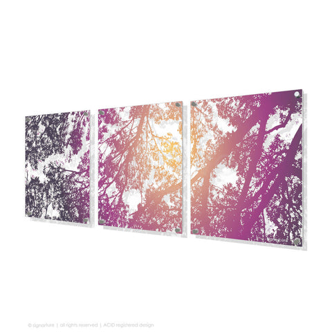 tree perspex art gleneagles purple triptych